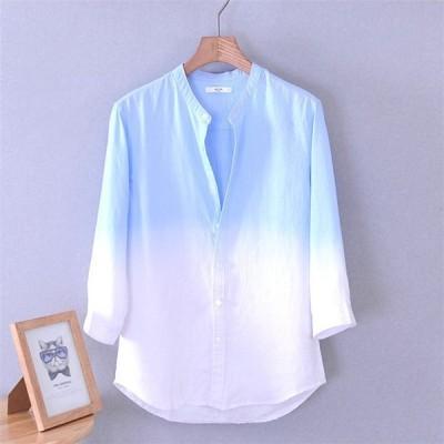 シャツメンズ無地長袖ブラウス大きいサイズカジュアルトップススプライシング麻繊維シャツファッションおしゃれ夏