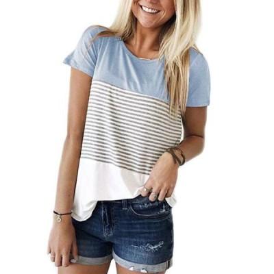 レディース 衣類 トップス Womens Round Neck Triple Color Block Stripe T-Shirt Tシャツ