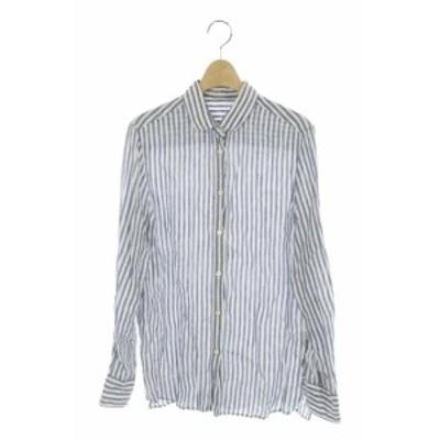 【中古】ドゥーズィエムクラス DEUXIEME CLASSE 17SS シャツ ストライプ リネン 長袖 白 紺 /HK ■OS レディース