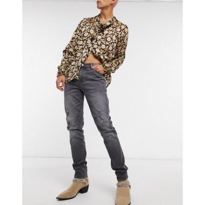 エイソス スキニー ジーンズ メンズ ASOS DESIGN 12.5oz skinny jeans in vintage washed grey with heavy rips エイソス ASOS グレー 灰色