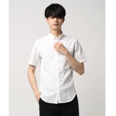 シャツ ブラウス HIGH STREET∴ブロックニットコンビ半袖シャツ