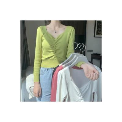 【送料無料】秋服 年 女 韓国風 襟 着やせ 着やせ 折り畳む 長袖セーター ワイシ | 364331_A63693-7263179