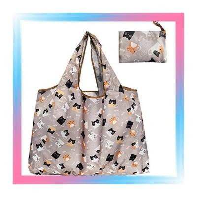 グレー猫 再利用可能 ショッピング バッグ 折りたたみ 洗浄可能