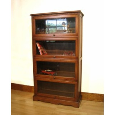 ガラスキャビネット 4段 キャビネット書棚 本棚  ブックケース オーク材