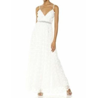 Nicole ニコール ファッション ドレス Nicole Miller NEW White Tonal Floral Applique Women Size 10 Dress Gown