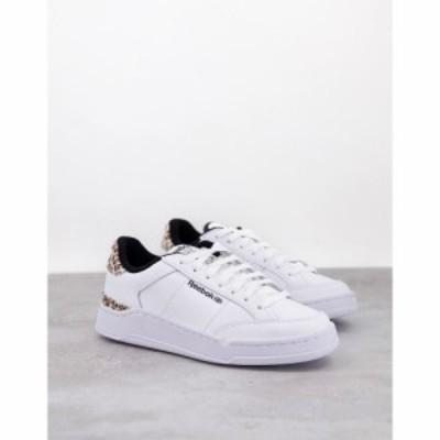 リーボック Reebok レディース スニーカー シューズ・靴 Ad Court Trainers In White With Leopard Print Heel Tab ホワイト
