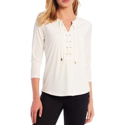カルバンクライン レディース Tシャツ トップス Matte Jersey Lace Up Front 3/4 Sleeve Top Soft White