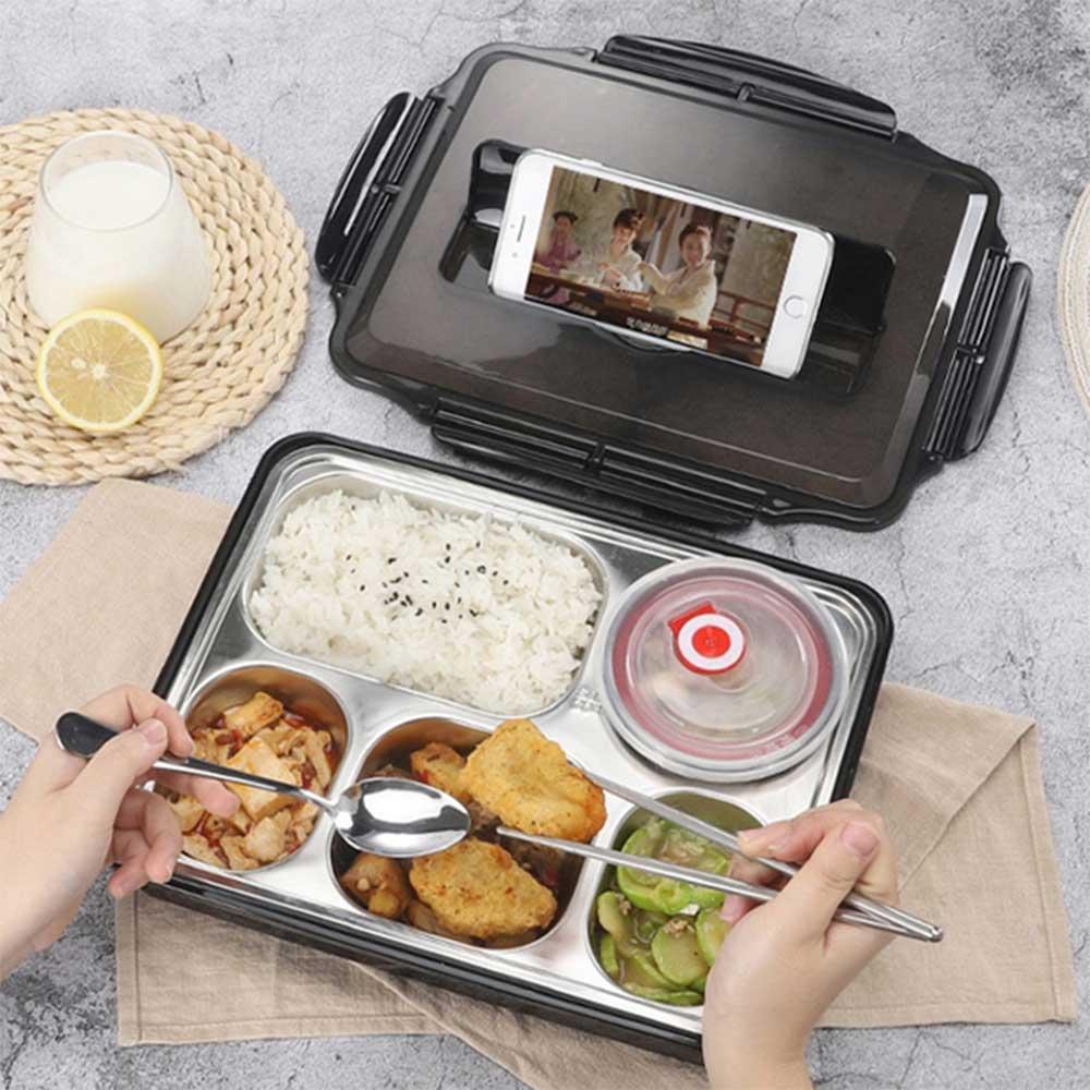 北歐304不鏽鋼分格便當盒(附餐具+湯碗) 餐盒 保溫飯盒 餐盤