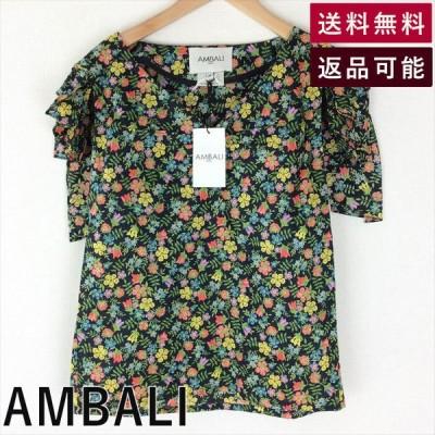 【中古】アンバリ  AMBALI  ブラウス  花柄  ノースリーブ  黒  E0226A004-E0315