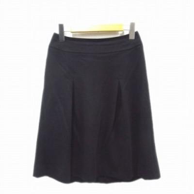 【中古】ジョセフ JOSEPH アシンメトリー タック キュロット スカート パンツ フレア 38 ブラック 黒 レディース