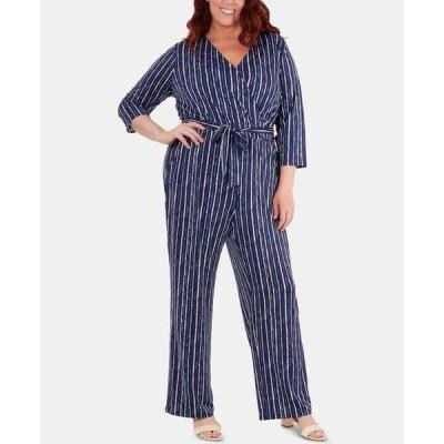 ニューヨークコレクション レディース カジュアルパンツ ボトムス Plus Size Striped Belted Jumpsuit