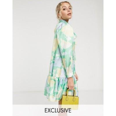 ツイステッドヴンダー Twisted Wunder レディース ワンピース ミニ丈 ワンピース・ドレス mini smock dress in bright floral マルチカラー