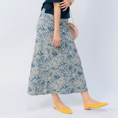 綿100%楽ちん裏毛素材のプリントロングスカート(オーシャンパシフィック/OCEAN PACIFIC)