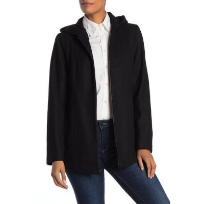 ロンドンフォグ レディース ジャケット&ブルゾン アウター Hooded Zip Front Wool Blend Coat BLACK
