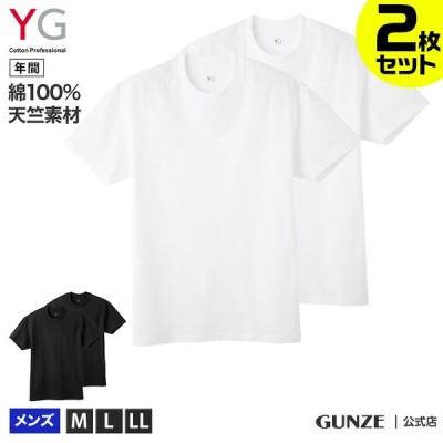 グンゼ メンズ クルーネックTシャツ 2枚セット 年間 YG ワイジー 半袖 丸首 Tシャツ カジュアル 2Pパック 丈夫 綿100 コットン 無地 ベーシック YV08132 M-LL