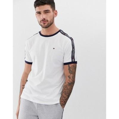 トミー ヒルフィガー メンズ シャツ トップス Tommy Hilfiger authentic lounge t-shirt side logo taping in white