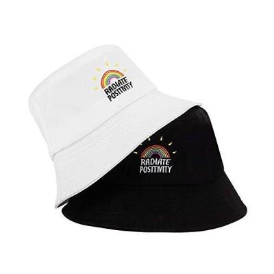 MNXA レインボーバケットハット 2パック コットン100% 刺繍入り帽子 かわいいサンキャップ 折りたたみ式ビーチハット レディース メンズ US