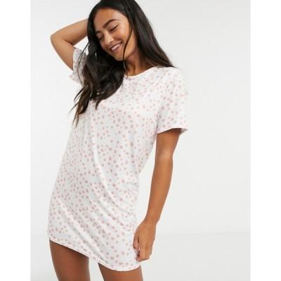 インザスタイル レディース ワンピース トップス In The Style x Jac Jossa smudged polka dot night dress in white multi