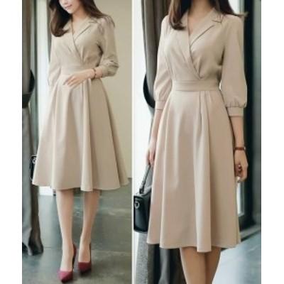 ワンピース 大きいサイズ パフスリーブワンピース ウエストマーク Aラインワンピース 大きいサイズ 韓国デザイン 韓国ファッション