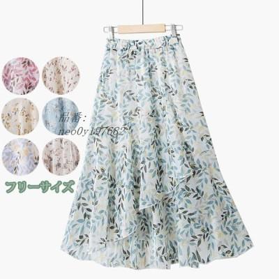 スカート シフォン フリーサイズ 花柄 Aライン 夏スカート 着痩せ効果 ゴムウエスト 美脚ラインも綺麗 レディース 着心地抜群で