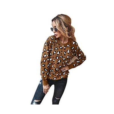 Women's Round Neck Knitted Sweater Leopard Print Pullover Long Sleeve Casua
