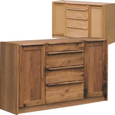 キッチンカウンター キッチン収納 幅140 ウォールナット レッドオーク 天然木 無垢 和風 和モダン エコ塗装 フルオープンレール付き 人気