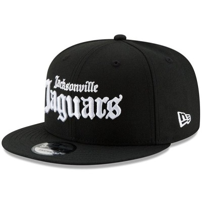 "ニューエラ メンズ キャップ ""Jacksonville Jaguars"" New Era Gothic Script 9FIFTY Adjustable Snapback Hat - Black"
