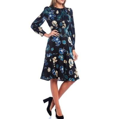 マギーロンドン レディース ワンピース トップス Floral Silk Jacquard Long Sleeve Midi Dress