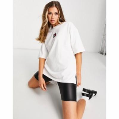 トミー ジーンズ Tommy Jeans レディース Tシャツ ロゴTシャツ トップス oversized crew neck flag logo t shirt in white ホワイト