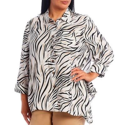マルチプルズ レディース カットソー トップス Plus Size Asymmetrical Hem Button Front Animal Print Crinkle Woven Shirt