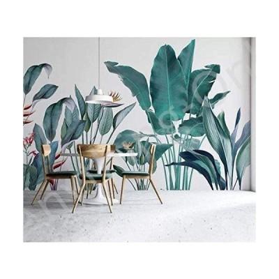 新品 Myyteo Wallpaper Custom Simple Nordic Hand-Painted Tropical Plant Background Decorative Painting A2-300cmx210cm並行輸入品