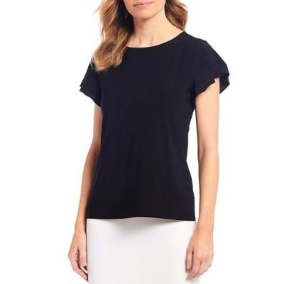 プレストンアンドヨーク レディース Tシャツ トップス Tasha Flutter Sleeve Knit Top Black
