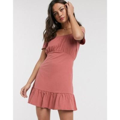 エイソス ASOS DESIGN レディース ワンピース サンドレス ミニ丈 ワンピース・ドレス Asos Design Off Shoulder Mini Sundress With Pep Hem In Rose ローズ