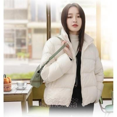 ダウンジャケットレディース冬服ダウンコートゆったりショート軽い体型カバーカジュアル暖かい厚手アウター