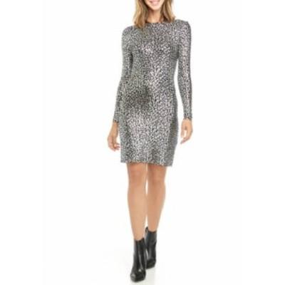 マイケルコース レディース ワンピース トップス Women's Cheetah Print Foil Sheath Dress Black/Silver