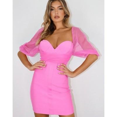 ミスガイデッド Missguided レディース ワンピース ワンピース・ドレス Mesh Dress With Ruching In Pink ピンク