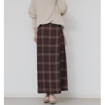 【リエス/Liesse】 タータンチェックプリーツ片側ラップスカート