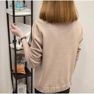 2020年秋冬ニットセーターレディースVネックトップスショット丈長袖無地ニット暖かきれいめ大人女性伸縮着やせゆったり