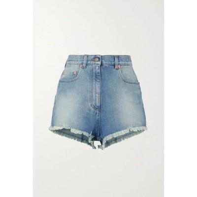 グッチ Gucci レディース ショートパンツ デニム ボトムス・パンツ appliqued frayed denim shorts