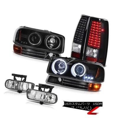 ヘッドライト ハローCCFLヘッドランプバンパーLEDブラックテイルライトユーロフォグ1999-2003 GMC Sierra SL Halo CCF
