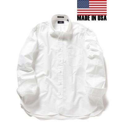 【シップス】 SHIPS×IKE BEHAR: アメリカ製 オックスフォード ラウンドカラー シャツ メンズ ホワイト LARGE SHIPS