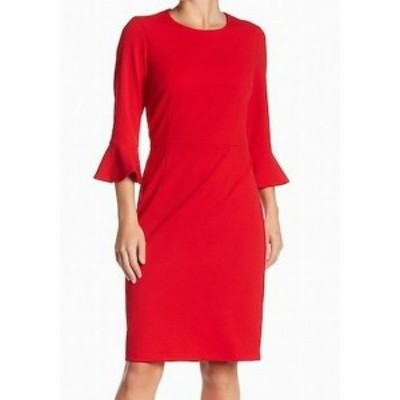 bell ベル ファッション ドレス Donna Morgan NEW Fire Red Womens Size 14 Bell Sleeve Sheath Dress