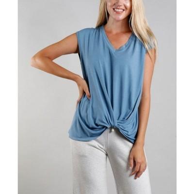 コイン1804 カットソー トップス レディース Women's V-Neck Twist Front T-shirt Denim