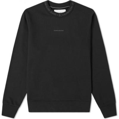 カルバンクライン Calvin Klein メンズ スウェット・トレーナー トップス Logo Jacquard Crew Sweat CK Black