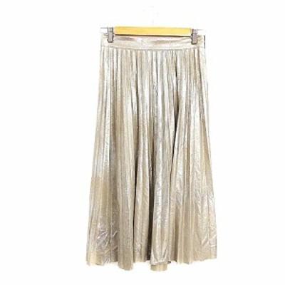 【中古】ザラウーマン ZARA WOMAN スカート プリーツ ミモレ ロング 光沢感 XS ベージュ /AAM41 レディース