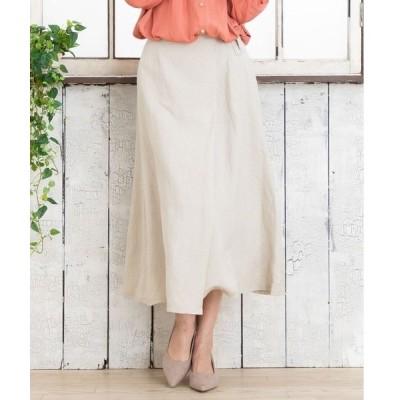スカート リネンレーヨンラップ風スカート【大きいサイズ対応】【9号(M)〜19号(5L)】