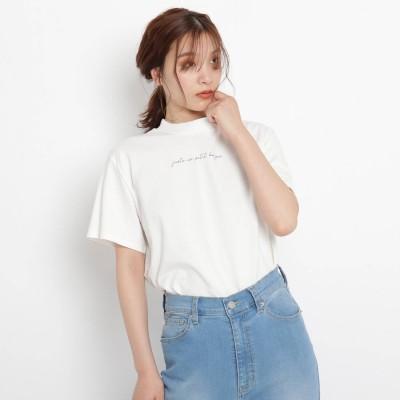 グローブ grove 洗える/UV/抗菌防臭【SS-3L】ギザコットンモックネックシンプルTシャツ (オフホワイト×ロゴ)