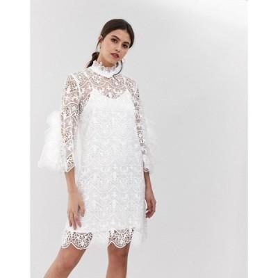ワイエーエス レディース ワンピース トップス Y.A.S Bridal high neck lace dress