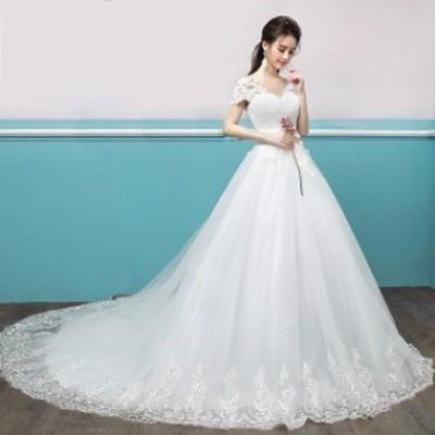 ウェディングドレス 2019新作 Vネック レース袖 トレーンドレス プリンセス 結婚式ドレス ブライダル ホワイトドレス パニエ付き