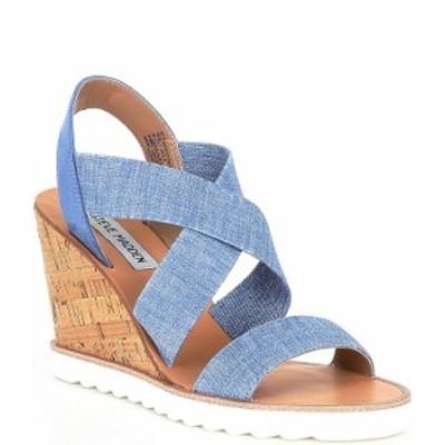 スティーブ マデン レディース サンダル シューズ Fetching Banded Wedge Sandals Blue Multi